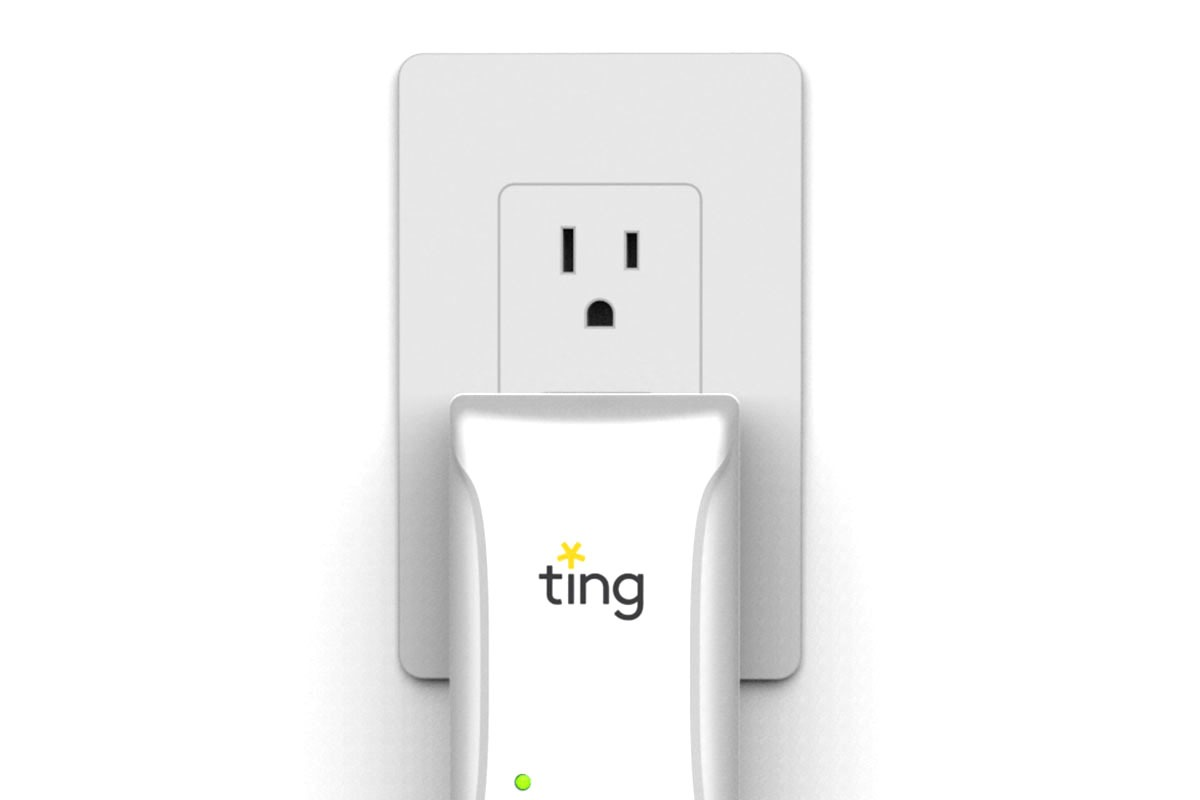 Close up of a Ting device plugged into outlet