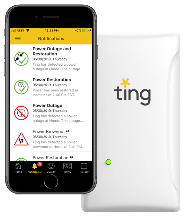 Ting service app and Ting device product shot