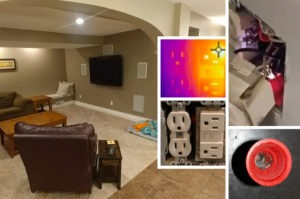 Composite image of living room, a power outlet, and infrared imagery of a power outlet to show heat sources