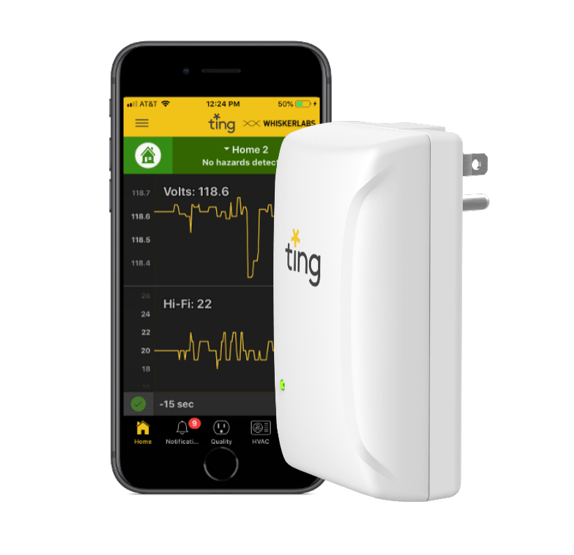 Ting smarthphone app on apple iphone next to Ting Sensor
