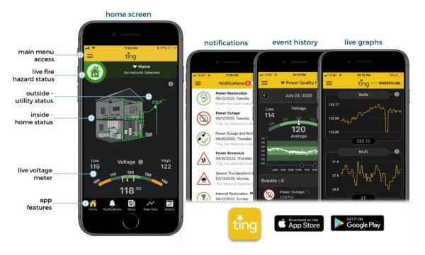 ting app screens and information