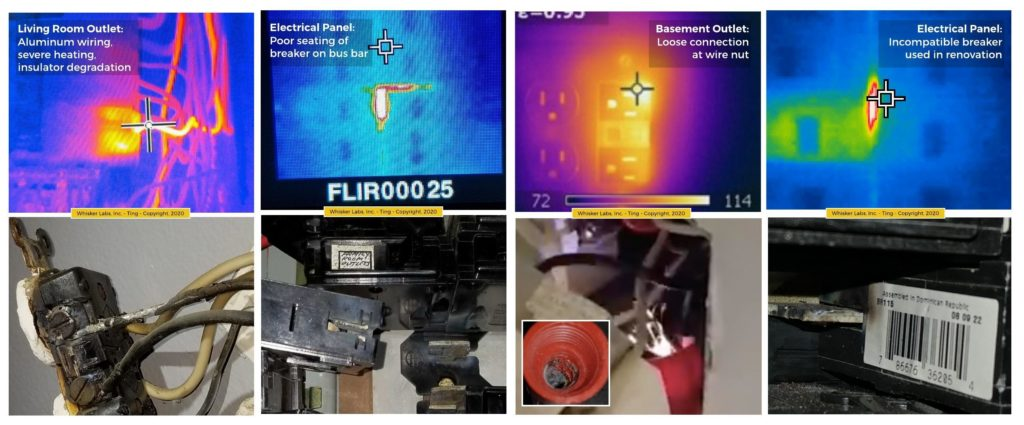 thermal images and actual images of electrical fire hazards caught by Ting