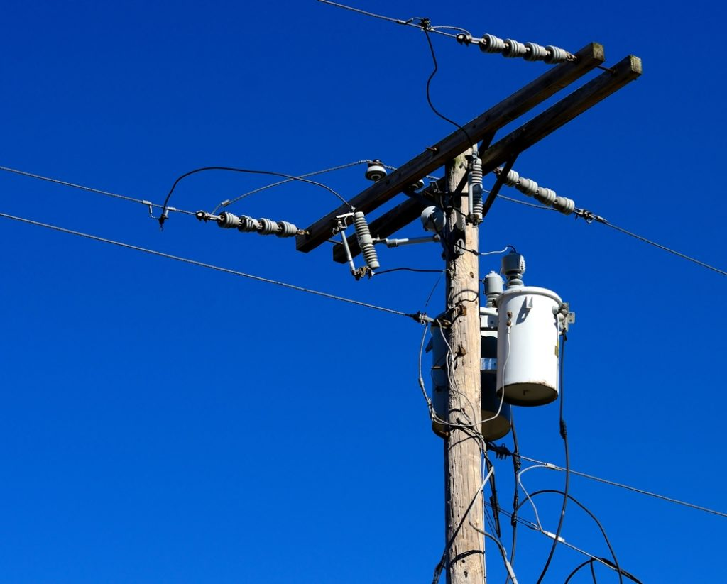 Pole-mounted electrical transformer