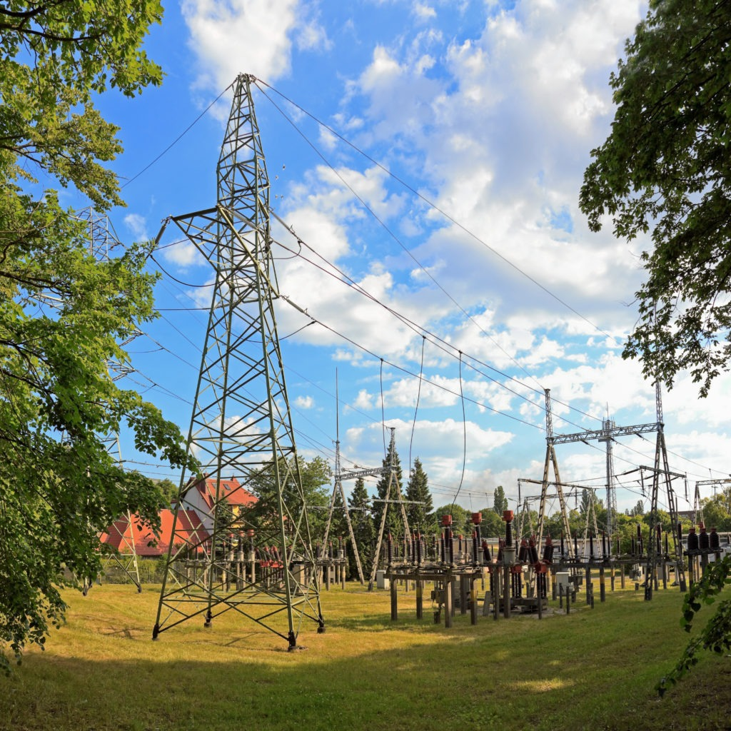Electrical substation and distribution towers