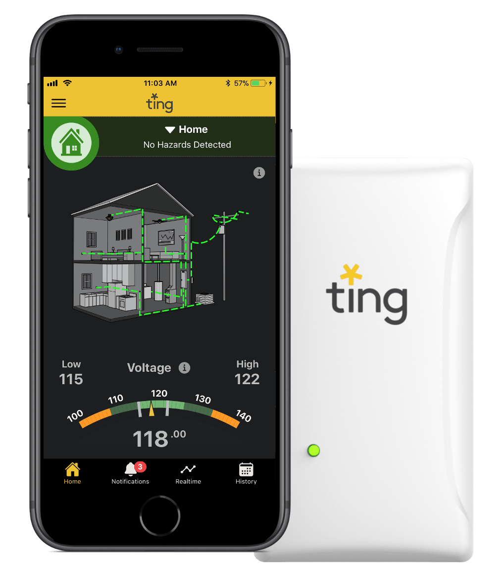Ting app home screen and sensor