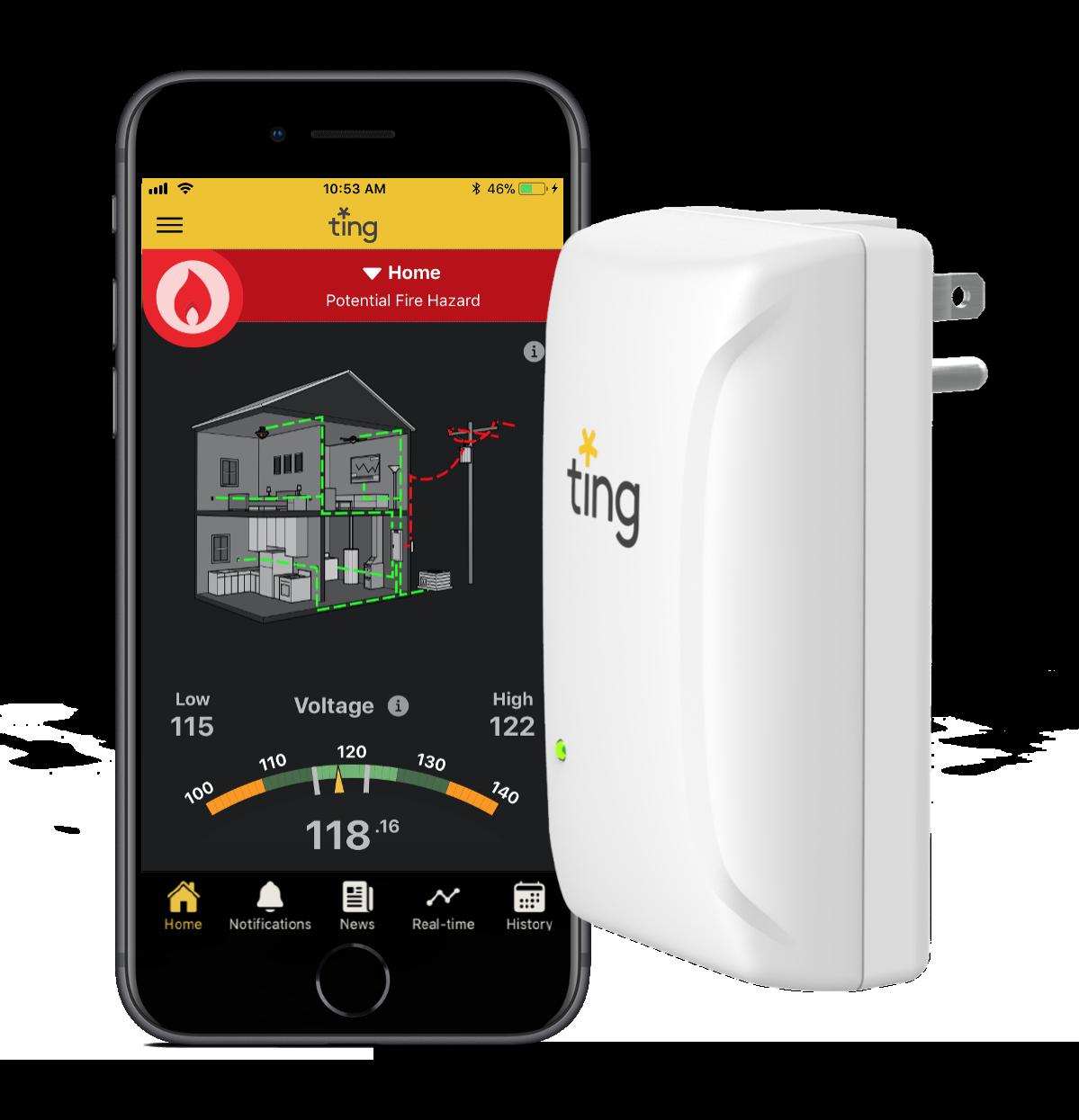 ting app and sensor