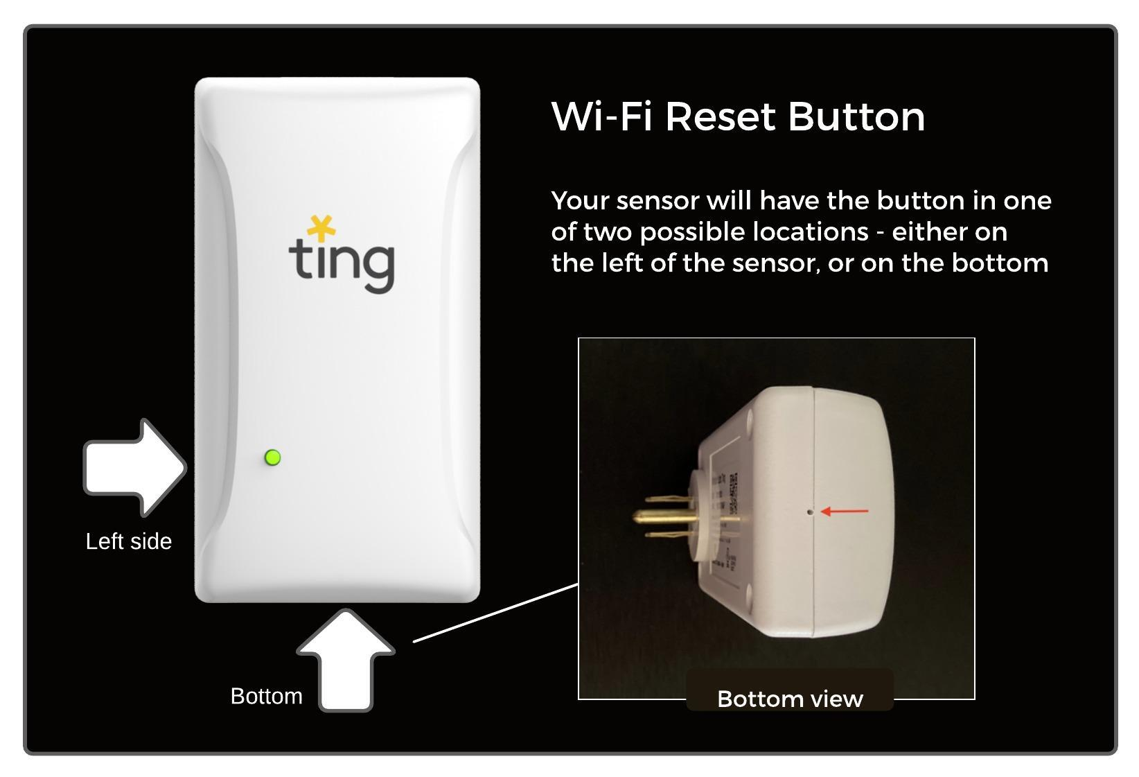 Ting sensor with wi-fi reset button locations depicted