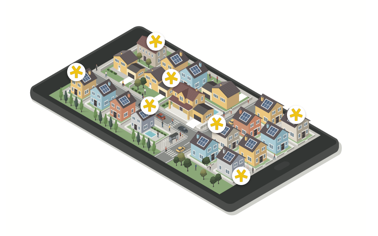 neighborhood of homes with Ting
