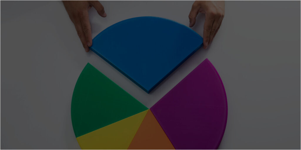 pie chart with set of hands placing a piece